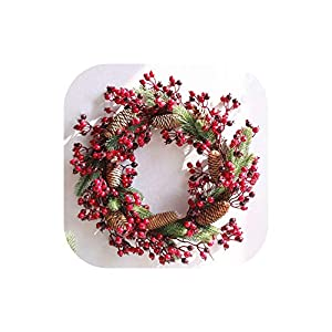 Fake Flower Christmas Wreaths Artificial Berries Natural Pine Nuts Combination Garlands Christmas Decoration for Home Party Outdoor 45Cm,45Cm Red 1