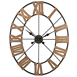 Contemporary Oval Metal and Wood Wall Clock, Copper Finish, 38 High