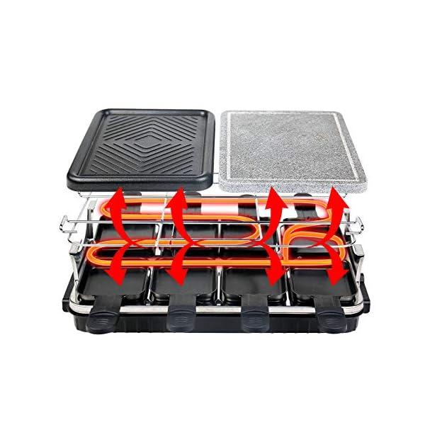 Raclette 8 Persone Griglia Raclette 2 In 1 con Pietra Ollare, Piastra per Raclette con 8 Mini Padelle e 4 Spatole in… 3