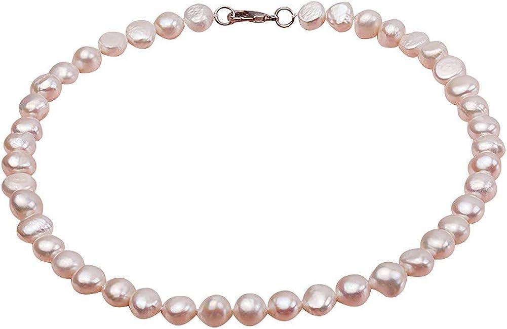 JYX - Collar ovalado de perlas cultivadas en agua dulce (7-8 mm), color blanco y rosa