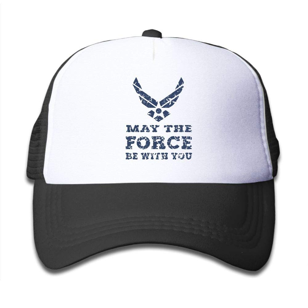 NO4LRM Kid's Boys Girls U.S. AIR Force USAF May The Force BE Youth Mesh Baseball Cap Summer Adjustable Trucker Hat