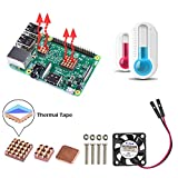 iUniker Raspberry Pi Fan, With All Copper Raspberry Pi Heatsink NEW DESIGN SIZE Cooling Kit with 8810 Thermal Conductive Adhesive Tape for Pi 3B+/3B/2B
