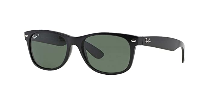 Ray-Ban New Wayfarer Sunglasses (RB2132) Black/Green Plastic - Polarized -
