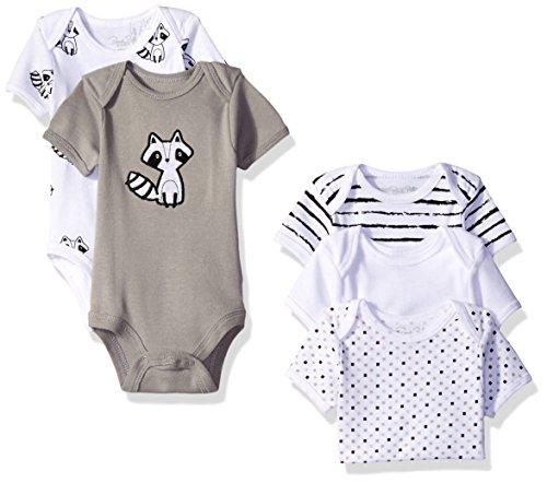 Rene Rofe Baby Boys' 5 Piece Shortsleeve Bodysuit Set, Classic Grey Raccoon, 6-9 Months