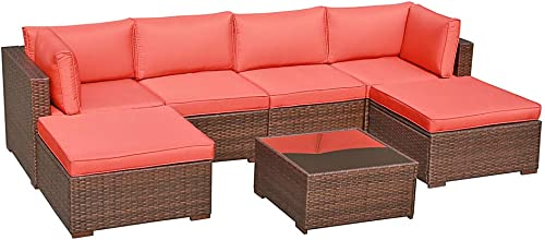 OC Orange-Casual 7 Pieces Outdoor Patio Furniture Set All Weather Wicker Sectional Sofa Couch Chair Ottoman with Glass Top Coffee Table Seat Cushion, Brown Wicker Orange Cushion
