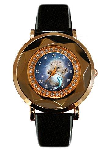 Supremecom Galaxy cat white fish Custom Fashion Glamour Women's Leather Rose Gold Quartz Crystal Watch ()