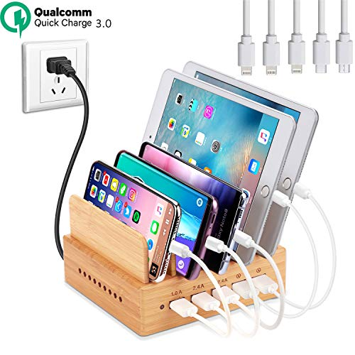 OthoKing Bamboo Wood Charging Station, Fastest USB Charging Dock Organizer 5-Port with QC 3.0 Quick Charge of Universal Cell Phones Tablets (5 Short Cables Included & 2 QC 3.0 Ports) ()