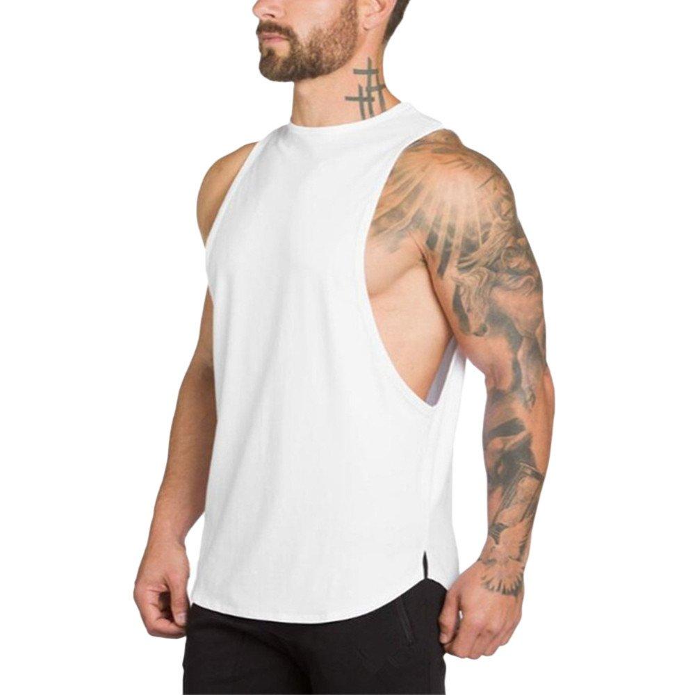 MODOQO Men's Tank Tops Fitness Sleeveless Cotton O-Neck T-Shirt Gym Vest(White,L) by MODOQO (Image #2)