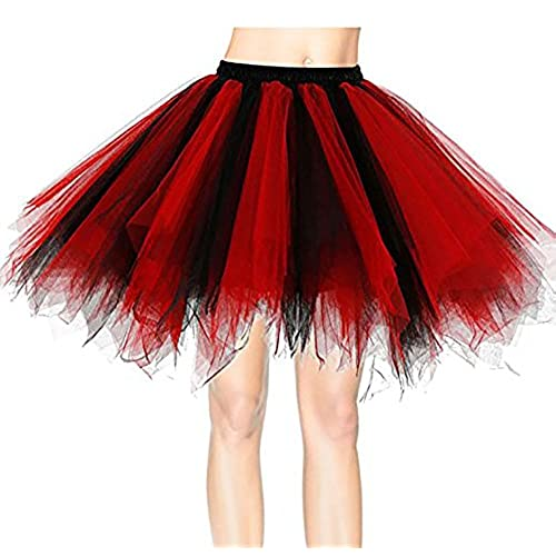 Yidarton Womens Frilly Petticoat Bubble Tutu Skirt Black And Red
