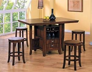 5pc Counter Height Kitchen Island Table & Stools Set Dark Oak Finish