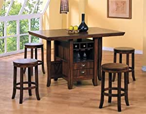 table height kitchen island 5pc counter height kitchen island table 22244