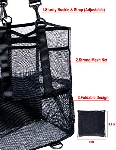 Mesh Beach Bag,Large Beach Tote Bag,Pool Bag with 7 Large Pockets and Middle Compartment Innovation Design-Grocery & Picnic Tote Travel Bags for Family.