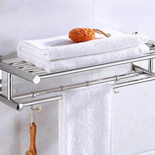 Estantes para el baño Montados en la pared, estante para toallas de acero inoxidable Estante de almacenamiento fácil de instalar, moderno Cuarto de baño con ...