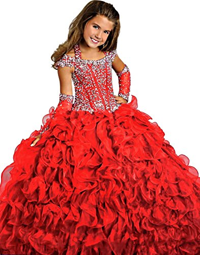 Y&C Girls Halter Chest Full Crystal Ball Gown Floor Length Pageant dresses (12, Red)