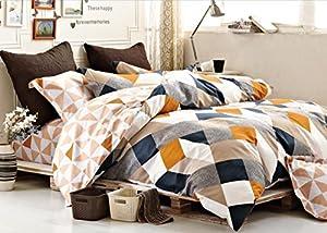 Minimal Style Geometric Shapes Duvet Quilt Cover Modern Scandinavian Design Bedding Set 100-percent Cotton Soft Casual Reversible Block Print Triangle Pattern (Queen, Copper)