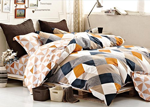 Duvet 100% Cotton Cover (Minimal Style Geometric Shapes Duvet Quilt Cover Modern Scandinavian Design Bedding Set 100-percent Cotton Soft Casual Reversible Block Print Triangle Pattern (King, Copper))