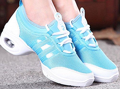VECJUNIA Ladies Fitness Mesh Sneakers Agility Modern Breathable Jazz Dance Shoes Blue NB70mZ