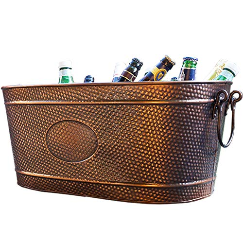 - BREKX 16436 Colt Hammered Copper Finish Beverage Party Tub & Wine Chiller - Large - Galvanized Bronze