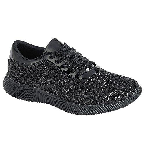 Snj Kvinna Platt Snörning Glitter Mode Glittrande Sneaker Nya Svarta