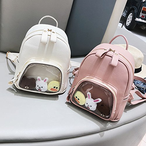 Double Smiling Backpack Included Soft Material Toys PU Bags White Not Women Face ETbotu Fashion Shoulder Transparent for Students��Plush qw5zaEI
