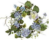 Nearly Natural 4642-BL Hydrangea Wreath, 15-Inch, Blue/Purple