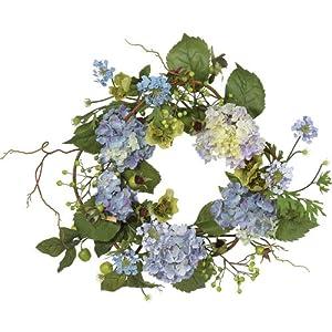 Nearly Natural 4642-BL Hydrangea Wreath, 15-Inch, Blue/Purple 33