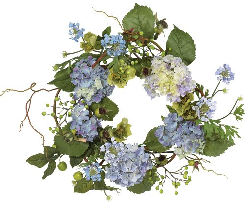 Nearly Natural 4642-BL Hydrangea Wreath, 15-Inch, Blue/Purple (Wreaths Kohls)