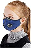 KIDS Sport Cycling Mask With Filter and 2 valves Protective Cycling Mask Activated Carbon Anti-Pollution Sport Training Bike Facemask (Sky Blue)