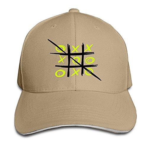 Wiongh Opp Sandwich Baseball Cap Unisex Adjustable Style Hat Tic Tac Toe Black Yellow
