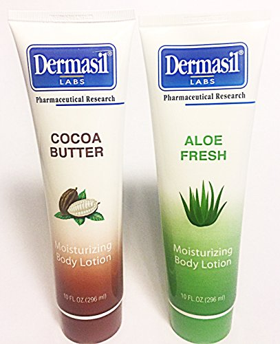 DERMASIL MOISTURIZING BODY LOTION BUNDLE: 2 10 oz. tubes. 1 Coco Butter and 1 Aloe Fresh.