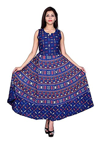 791a735c93a Outer Wear Womens Cotton Printed New Fashionable Long Length Midi Dress  (MJBDRESS0229 - X-Large Blue): Amazon.in: Clothing & Accessories