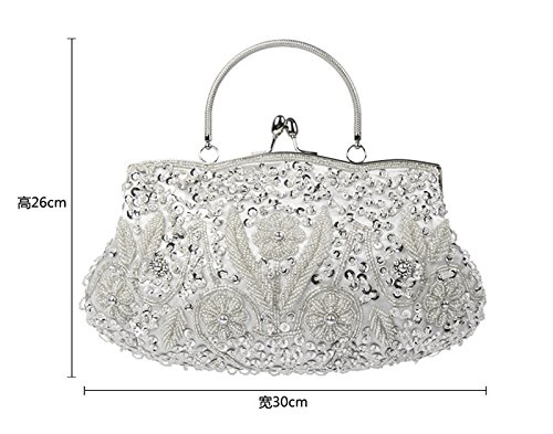 Beaded Sequin Design Bag Clutch Handbag Large Evening Womens for Purse Wedding Women Party Pink ZpBwqY