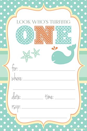 Themed Party Invitations - Fill In Style (20 Count) With Envelopes (1st Birthday Party Invitations)