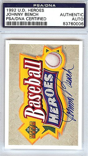 Johnny Bench Signed 1992 Upper Deck Heroes Trading Card -...