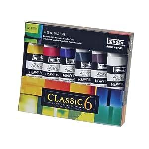 Liquitex 101037 2-Ounce Heavy Body Acrylic Paint, 6-Pack, Classic 6