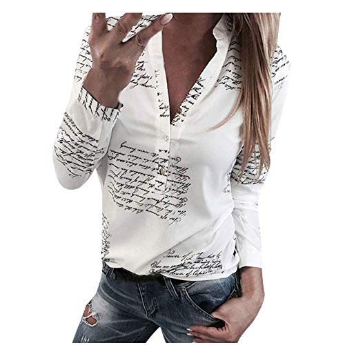 Funnygals Womens Shirts Casual V Neck Long Sleeve Button Down Blouse Henley Neck Letter Print Tunic Tops Regular Fit White