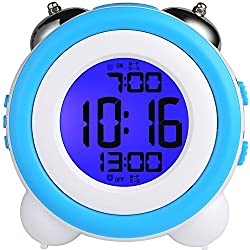 YOUOWO Digital Dual Alarm Clock Loud Alarm Clock Twin Bell Kids Small Clock Large Display with Snooze and Night Light Battery Operated Easy to Set for Heavy Sleepers Bedrooms Desk Travel