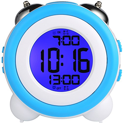 24 Hr Round The Clock (Digital Dual Alarm Clock Loud Alarm Clock Twin Bell Kids Small Clock Large Display With Snooze And Night Light Battery Operated Easy to Set for Heavy Sleepers Bedrooms Desk Travel)