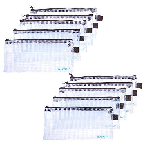 - BCP 10PCS Clear Color Plastic Invoice Check Bill Bag, Pencil Pouch Pen Bag, 9-1/4 x 4-1/4inches