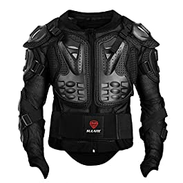 GuTe Powersports Men's Motorcycle Motocross MTB Racing Full Body Armor Protective Jacket (Black, 2XL)