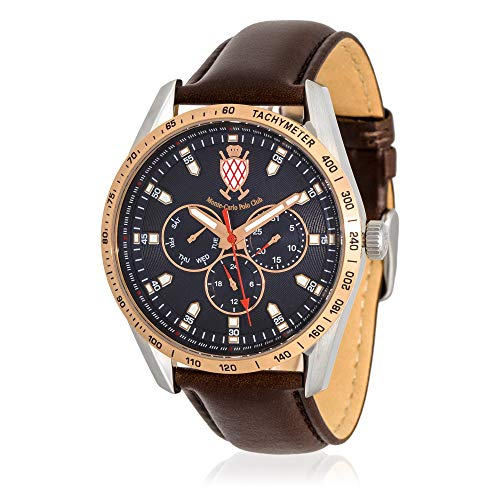 Leather Carlo Monte Watch (Monte-Carlo Polo Club Mens Classic Multifunction Watch with Dark Blue Dial and Brown Leather Strap)