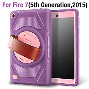 eSamcore Amazon Fire 7 Inch Tablet case, Full Body Protective Case With Built in Screen Protector and rotating Leather Hand Strap For Kindle Fire 7 [5th Generation 2015 release] [PURPLE/PINK]