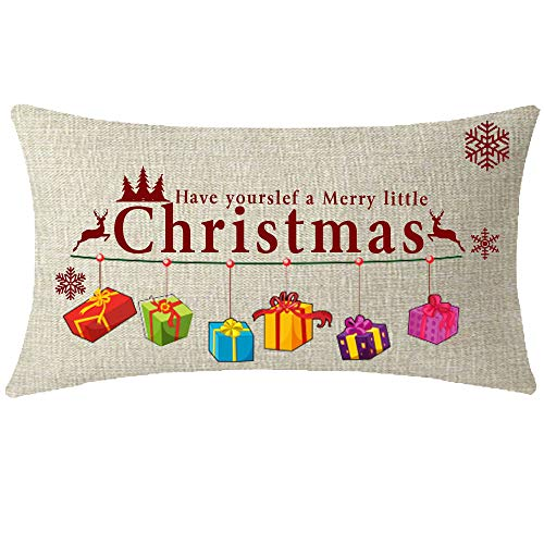 NIDITW Nice Happy Winter Have Yourself A Merry Little Christmas Deer Gifts Snowflakes Beige Cotton Burlap Linen Throw Pillow case Cushion Cover Sofa Decorative Oblong Long 12X20 Inches (Have Yourself A Merry Little Christmas Notes)