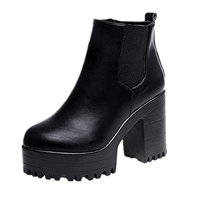 a74d3d24fcb6d2 Weant Chaussures Femme Bottes Bottines Femme Leather Boots Femmes Bottes  Plates-Formes à Talon carré
