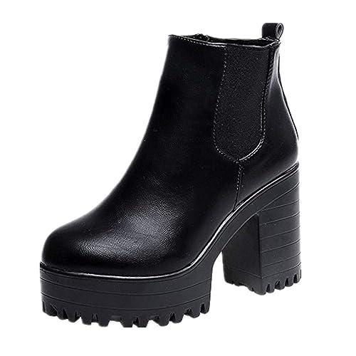 vente à bas prix remise chaude haut fonctionnaire Weant Chaussures Femme Bottes Bottines Femme Leather Boots Femmes Bottes  Plates-Formes à Talon carré en Cuir Cuisses Haute Pompe Bottes Chaussures  ...