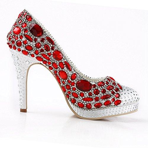 Minitoo pour Red femme Escarpins 10cm Minitoo Escarpins Heel White PnpxqTg