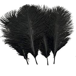 Sowder 20pcs Natural 10-12inch(25-30cm) Ostrich Feathers Plume Wedding Centerpieces Home Decoration(Black)