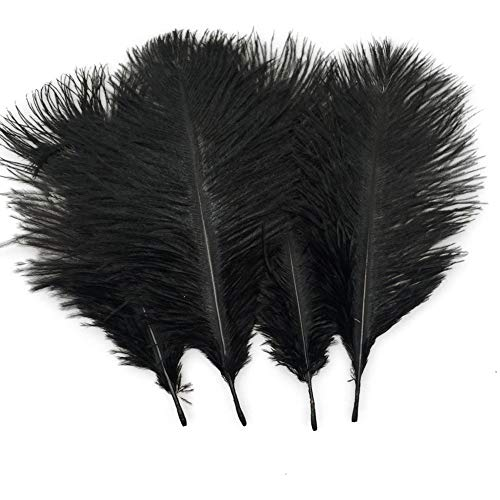 Sowder 20pcs Natural 10-12inch(25-30cm) Ostrich Feathers Plume Wedding Centerpieces Home Decoration(Black) -