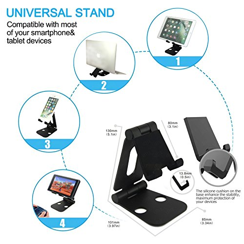 Cell Phone Stand Tablet Desk Stand Holder,DHZ Multi-Angle Adjustable Portable Dual Foldable Aluminum Mount for iPad air pro,iPhone 6 7 plus,Samsung,Kindle,Nintendo ()