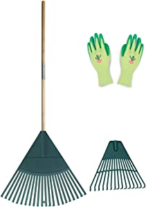 Colwelt Plastic Leaf Rake Set, Garden Poly Shrub Rake with 47inch Hardwood Handle, Durable Plastic Head 22Tines & 15Tines & Garden Gloves, Garden Rake Leaf to Collect Loose Debris Among Plants, Lawns